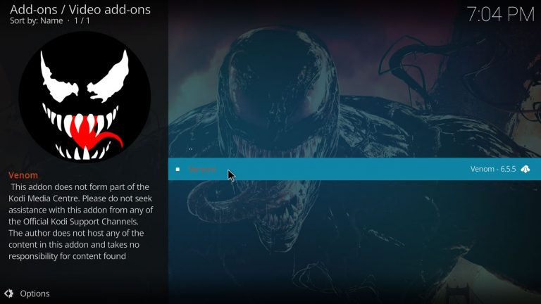 Venom Kodi add-on on its own repository