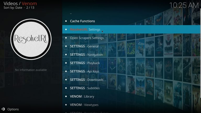 open ResolveUrl settings with Venom on Kodi