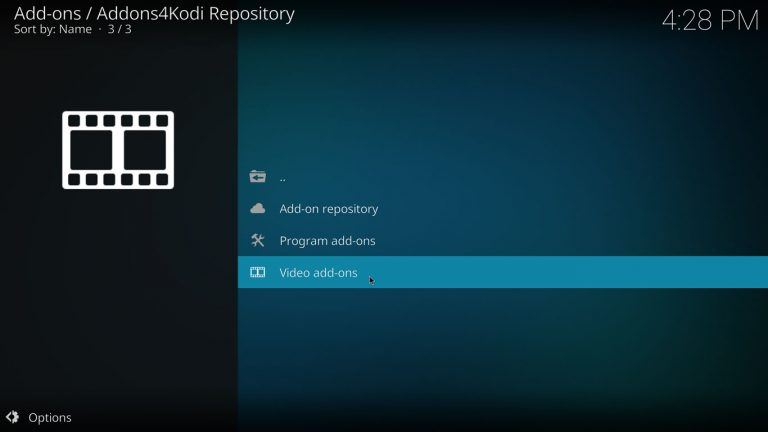 categoría add-ons de video en repositorio Addons4Kodi
