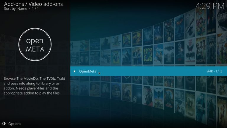 OpenMeta Kodi add-on en repositorio addons4kodi