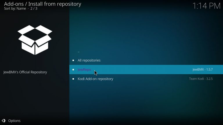JewBMX repository on Kodi