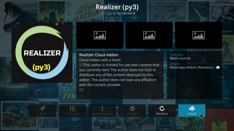 install Realizer Kodi add-on