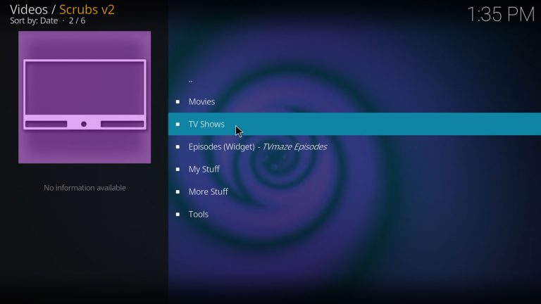 main menu on scrubs kodi addon