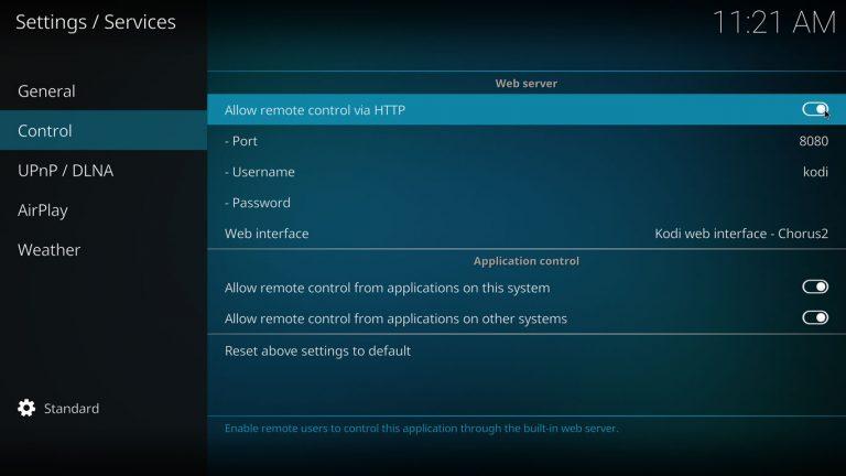 Allow remote control via HTTP on Kodi