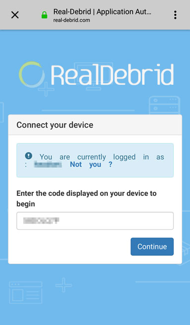 entering wako authorization code on real debrid