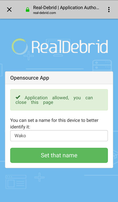 set a name to your wako connection on real debrid