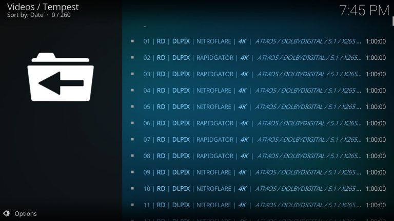 Real Debrid sources on Tempest Kodi add-on