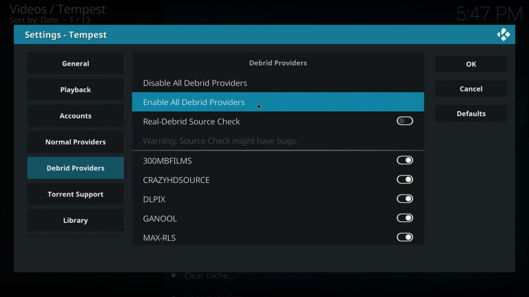 enabling debrid providers on Tempest Kodi add-on