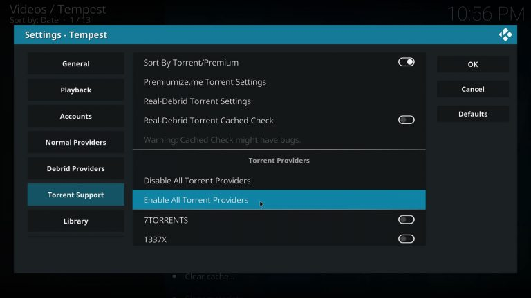 Enable torrent providers on Tempest Kodi addon