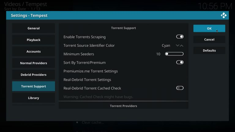 save torrent settings on Tempest