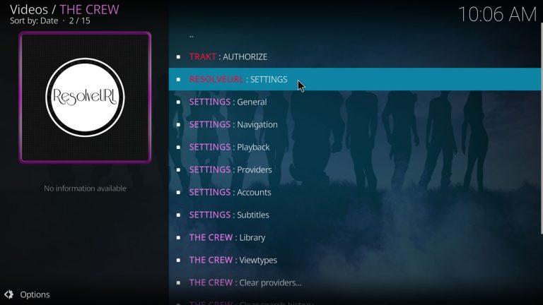 abrir configuración de Resoiveurl con The Crew