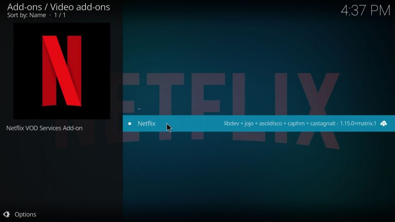 Netflix Kodi add-on on CastagnaIT repo