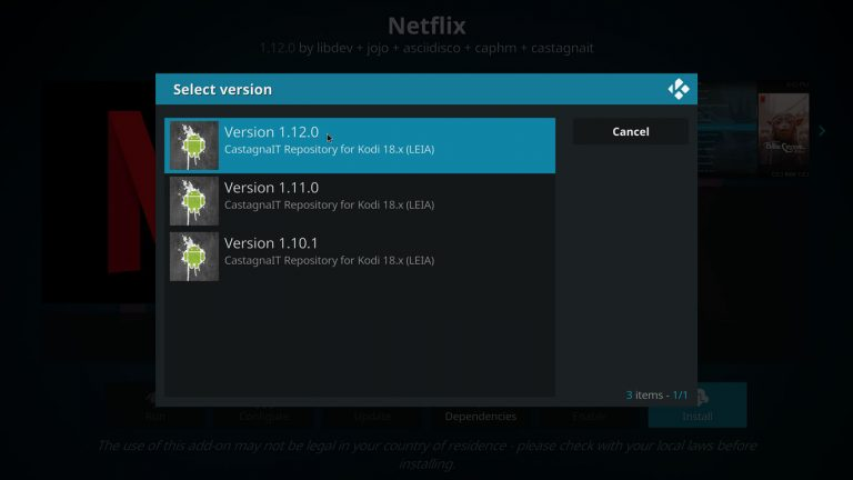 select the latest version of netflix addon