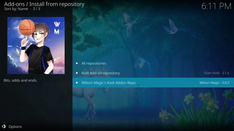 Wilson Magic repository on Kodi