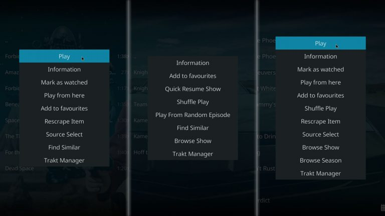 Seren Context Menu Items on Kodi