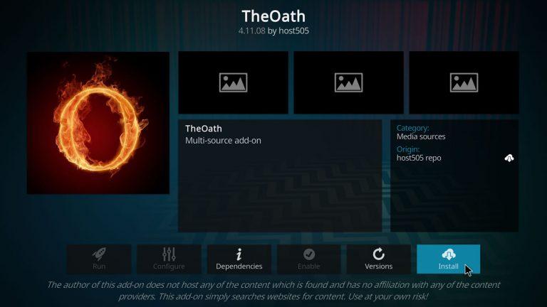 installing The Oath on Kodi