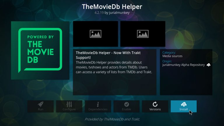 press the button to install TheMovieDb Helper on Kodi