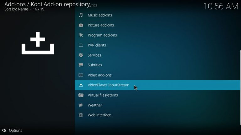 VideoPlayer InputStream category on Kodi's official repository