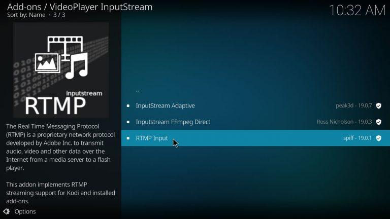 RTMP input stream Kodi addon