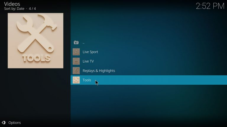 Apex Sports main menu, Tools category is selected