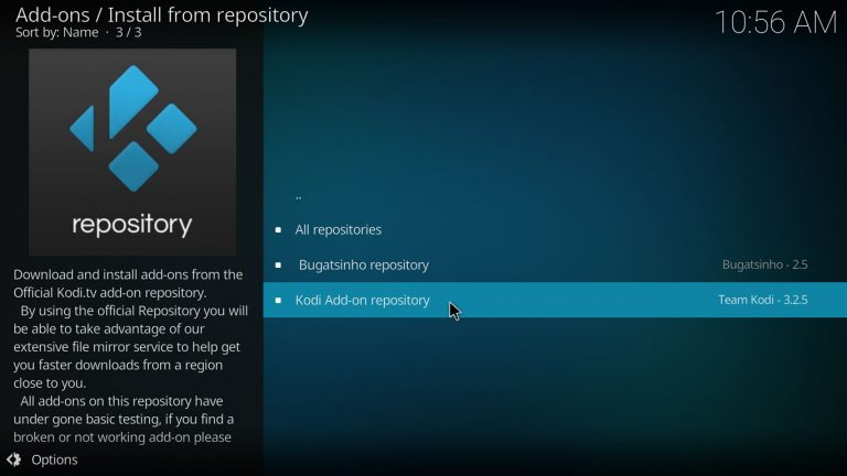 open the official kodi repository