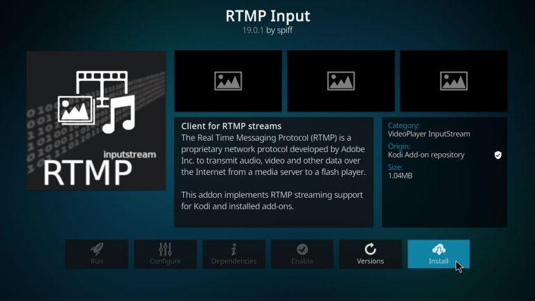 installing RTMP protocol addon on Kodi