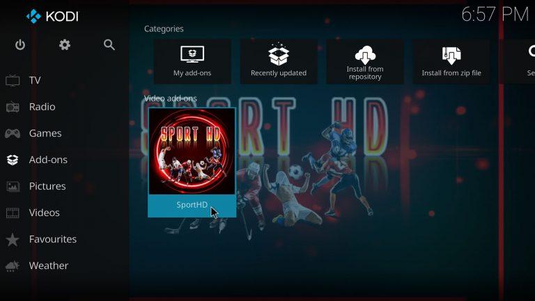 SportHD Kodi addon