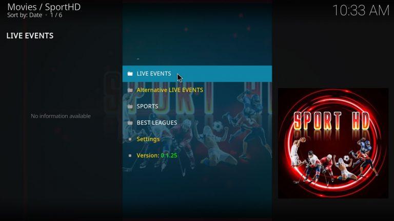 SportHD main menu on Kodi