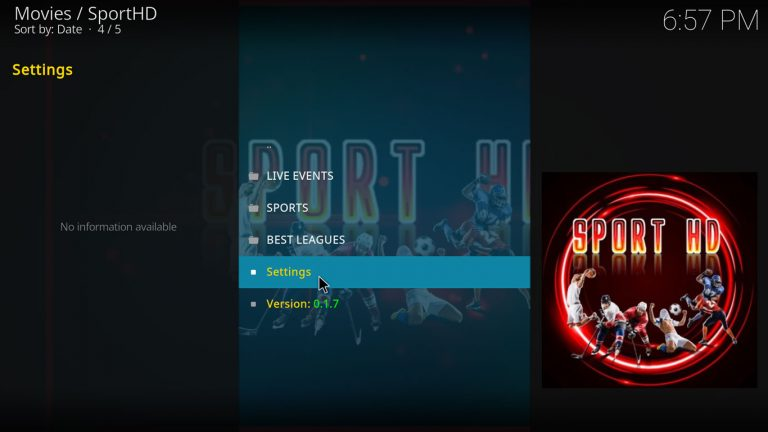 SportHD main menu, settings category