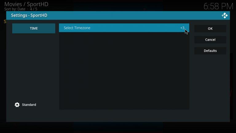 select a timezone on SportHD Kodi addon