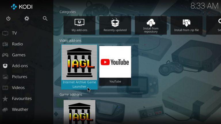 Kodi Internet Archive Game Launcher (IAGL) add-on