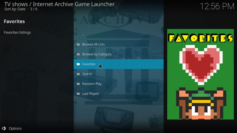 favorite games list on IAGL and Kodi