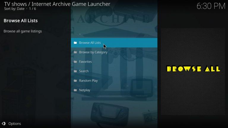 Browse all lists category on IAGL's main menu