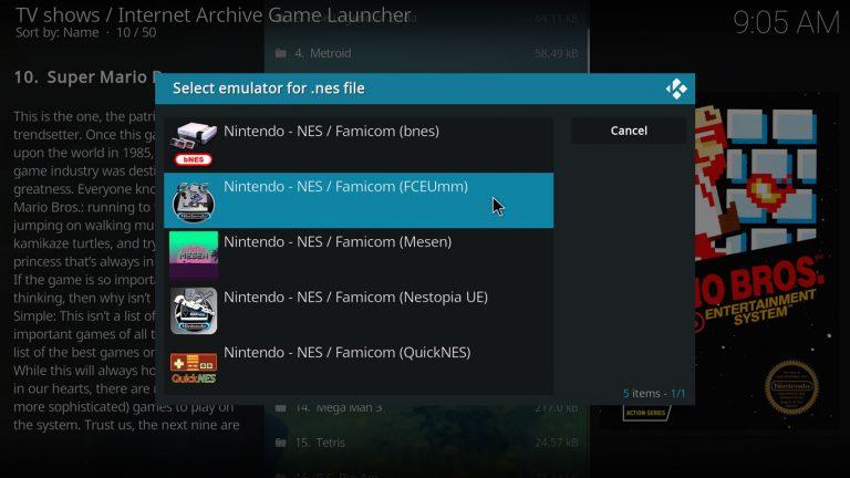 select an emulator
