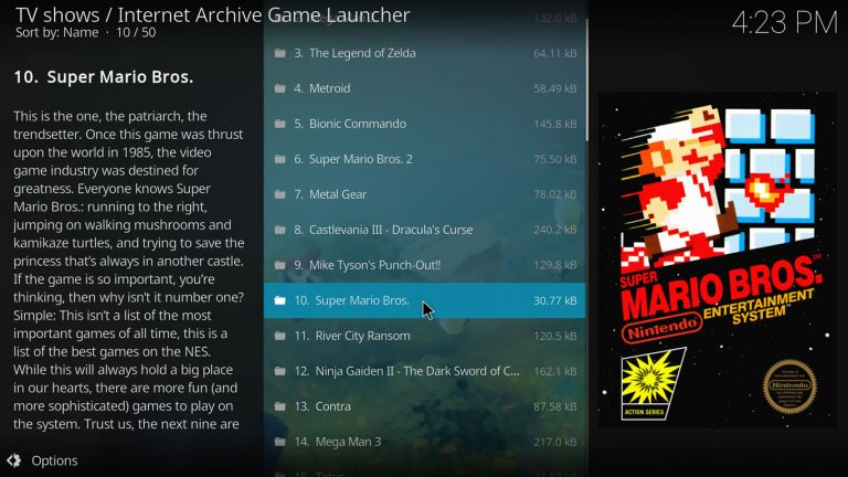 selecting a game with Internet Archive Game Launcer