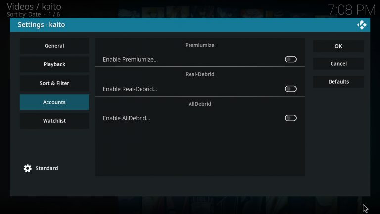 Kaito settings, Accounts tab is selected