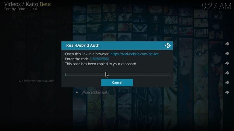 Real Debrid authorization code