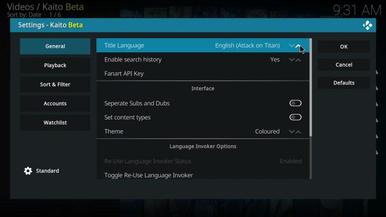 change anime title language on Kaito