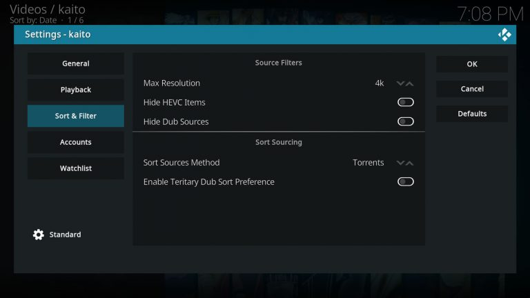 Kaito settings, Sort & Filter tab is selected