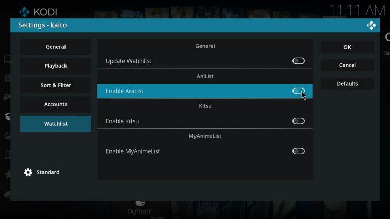 enable AniList on Kaito