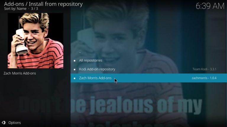 Zach Morris Kodi repository